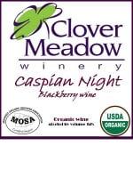clover meadow, organic blackberry wine, Wisconsin
